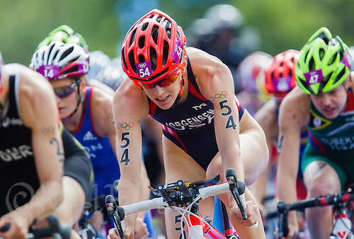 04 AUG 2012 - LONDON, GBR - Gwen Jorgensen (USA) of the USA (#54, centre) on the bike during the women's London 2012 Olympic Games Triathlon in Hyde Park, London, Great Britain .(PHOTO (C) 2012 NIGEL FARROW)