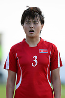 20190227 - LARNACA , CYPRUS : Korean Pak Sw Jong pictured during a women's soccer game between Korea DPR and Czech Republic , on Wednesday 27 February 2019 at the GSZ Stadium in Larnaca , Cyprus . This is the first game in group A for both teams during the Cyprus Womens Cup 2019 , a prestigious women soccer tournament as a preparation on the Uefa Women's Euro 2021 qualification duels and the Fifa World Cup France 2019. PHOTO SPORTPIX.BE | STIJN AUDOOREN