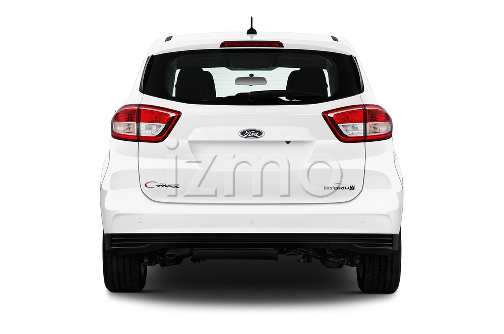 Straight rear view of a 2017 Ford C-Max Hybrid Titanium 5 Door Mini Van stock images