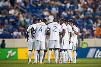 Honduras huddles before the start of the second half. Honduras defeated Haiti 2-0 during a CONCACAF Gold Cup group B match at Red Bull Arena in Harrison, NJ, on July 8, 2013.
