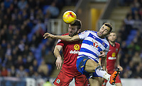 Hal Robson-Kanu of Reading and Grant Hanley of Blackburn Rovers battle during the Sky Bet Championship match between Reading and Blackburn Rovers at the Madejski Stadium, Reading, England on 20 December 2015. Photo by Andy Rowland / PRiME Media Images