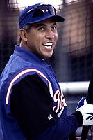 Andres Galarraga of the Texas Rangers during a 2001 season MLB game at Angel Stadium in Anaheim, California. (Larry Goren/Four Seam Images)