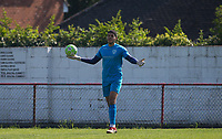 Goalkeeper Aaron Watkins of Flackwell Heath during the UHLSport Hellenic Premier League match between Flackwell Heath v Tuffley Rovers at Wilks Park, Flackwell Heath, England on 20 April 2019. Photo by Andy Rowland.