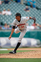 Indianapolis Indians relief pitcher Edgar Santana (10) during a game against the Buffalo Bisons on August 17, 2017 at Coca-Cola Field in Buffalo, New York.  Buffalo defeated Indianapolis 4-1.  (Mike Janes/Four Seam Images)