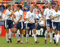 USA celebrates a goal, USWNT vs Canada April 26, 2003.