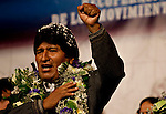 ©PATRICIO CROOKER<br /> La Paz, Bolivia<br /> A picture dated November 26, 2009 shows Bolivian President and presidential candidate Evo Morales during a campaign event in the City of La Paz.  Morales is running for re-election for the MAS (Movement Towards Socialism) party, and has more than 50% support of the population.