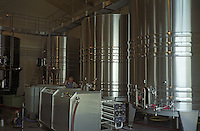 In the winery, a machine to do reverse osmosis, a technical method to increase improve the concentration in wine. Stainless steel fermentation tanks. Chateau du Tertre, margaux, Medoc, Bordeaux, Gironde, Aquitaine France Europe