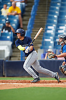 Mario Feliciano (6) of Carlos Beltran Baseball Academy in San Juan, Puerto Rico playing for the Tampa Bay Rays scout team during the East Coast Pro Showcase on July 28, 2015 at George M. Steinbrenner Field in Tampa, Florida.  (Mike Janes/Four Seam Images)