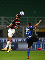 Calcio, Serie A: Inter Milano - AC Milan , Giuseppe Meazza (San Siro) stadium, in Milan, October 17, 2020.<br /> Milan's Zlatan Ibrahimovic (l) in action with Inter's Danilo D'ambrosio (r) during the Italian Serie A football match between Inter and Milan at Giuseppe Meazza (San Siro) stadium, October 17,  2020.<br /> UPDATE IMAGES PRESS/Isabella Bonotto
