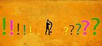 Illustration of businessman holding question mark