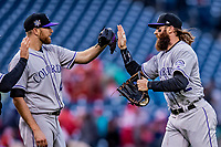 15 April 2018: Colorado Rockies outfielder Charlie Blackmon gets a high five after a game against the Washington Nationals at Nationals Park in Washington, DC. All MLB players wore Number 42 to commemorate the life of Jackie Robinson and to celebrate Black Heritage in pro baseball. The Rockies edged out the Nationals 6-5 to take the final game of their 4-game series. Mandatory Credit: Ed Wolfstein Photo *** RAW (NEF) Image File Available ***