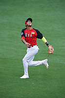 Team USA shortstop JP Crawford (3) tracks a popup during the MLB All-Star Futures Game on July 12, 2015 at Great American Ball Park in Cincinnati, Ohio.  (Mike Janes/Four Seam Images)