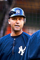 16 June 2006: Derek Jeter, shortstop for the New York Yankees, awaits his turn in the batting cage prior to a game against the Washington Nationals at RFK Stadium, in Washington, DC. The Yankees defeated the Nationals 7-5 in the first meeting of the two franchises...Mandatory Photo Credit: Ed Wolfstein Photo...
