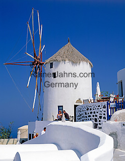 Greece; Cyclades; Santorini; Ia in Santorini's North: Windmill above the village