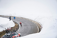 descending from the Passo Giau<br /> <br /> due to the bad weather conditions the stage was shortened (on the raceday) to 153km and the Passo Giau became this years Cima Coppi (highest point of the Giro).<br /> <br /> 104th Giro d'Italia 2021 (2.UWT)<br /> Stage 16 from Sacile to Cortina d'Ampezzo (shortened from 212km to 153km)<br /> <br /> ©kramon