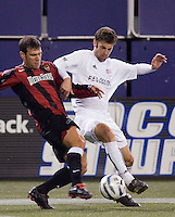 during first half action between the New England Revolution and the MetroStars in the first leg of the MLS Eastern Conference Semifinals at Giant's Stadium, East Rutherford, NJ, on October 22, 2005.