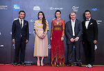 Tenniel Chu and his wife Carmen, English Football Player Paul Scholes, and Actress Charmaine Sheh walk the Red Carpet event at the World Celebrity Pro-Am 2016 Mission Hills China Golf Tournament on 20 October 2016, in Haikou, China. Photo by Marcio Machado / Power Sport Images