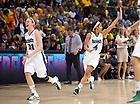 Apr. 1, 2012; Natalie Novosel and Skylar Diggins celebrate after Notre Dame's 83-75 overtime win over UConn in the Women's Final Four at the Pepsi Center in Denver, CO...Photo by Matt Cashore/University of Notre Dame