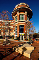 Exterior architectural photography (without people) of the Huntersville Town Center and Discovery Place Kids children's museum. The project, which opened to the public in October 2010, is a public-private venture in downtown Huntersville, North Carolina.