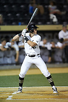 Cole McNamee (40) of the Wake Forest Demon Deacons at bat against the North Carolina State Wolfpack at David F. Couch Ballpark on April 18, 2019 in  Winston-Salem, North Carolina. The Demon Deacons defeated the Wolfpack 7-3. (Brian Westerholt/Four Seam Images)