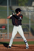 AZL Giants Black Dilan Rosario (18) at bat during an Arizona League game against the AZL Angels at the Giants Baseball Complex on June 21, 2019 in Scottsdale, Arizona. AZL Angels defeated AZL Giants Black 6-3. (Zachary Lucy/Four Seam Images)