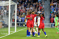 Saint Paul, MN - SEPTEMBER 03: Jessica McDonald #22 of the United States celebrates with her team mates during their 2019 Victory Tour match versus Portugal at Allianz Field, on September 03, 2019 in Saint Paul, Minnesota.