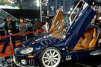 "The Spyker sports car for sale at the ""Top Show"" luxury goods fair in Shenzhen, China."
