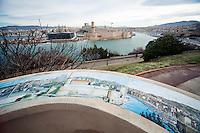 View from the Palais du Pharo towards 17th century Fort Saint-Jean at the entrance to the Old Port of Marseille, Marseille, France, 04 February 2013