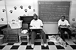 BEACON, NEW YORK:  The core beliefs of the Puppies Behind Bars Program are written on a chalkboard to remind prisoners what their goals are in the program at Fishkill Correctional Facility. The Puppies Behind Bars (PPB) Program works with prison inmates in New York, New Jersey, and Connecticut to train service dogs, including ones who help injured soldiers.