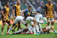 Danny Care of Harlequins clears his line with a box kick during the Aviva Premiership Rugby match between Harlequins and Bristol Rugby at Twickenham Stadium on Saturday 03 September 2016 (Photo by Rob Munro/Stewart Communications)