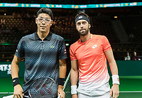 Rotterdam, The Netherlands, 11 Februari 2019, ABNAMRO World Tennis Tournament, Ahoy, first round singles: Hyeon Chung (KOR) - Nikoloz Basilashvili (GEO),<br /> Photo: www.tennisimages.com/Henk Koster