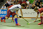 GER - Muelheim an der Ruhr, Germany, February 04: During the FinalFour semi-final men hockey match between Club an der Alster (red) and Mannheimer HC (white) on February 4, 2017 at innogy Sporthalle in Muelheim an der Ruhr, Germany. (Photo by Dirk Markgraf / www.265-images.com) *** Local caption *** Timm Haase #27 of Mannheimer HC