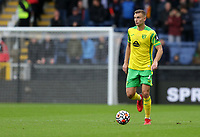 2nd October 2021;  Turf Moor, Burnley, Lancashire, England; Premier League football, Burnley versus Norwich City: Ben Gibson of Norwich City looks up for a team mate before passing the ball