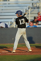 Owen McKeever (13) (Pitt-Johnstown) of the Concord A's at bat against the Mooresville Spinners at Moor Park on July 31, 2020 in Mooresville, NC. The Spinners defeated the Athletics 6-3 in a game called after 6 innings due to rain. (Brian Westerholt/Four Seam Images)