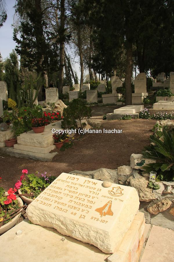 Israel, Jezreel Valley, Astronaut Ilan Ramon's grave in Nahalal cemetery