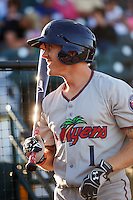 Fort Myers Miracle center fielder Tanner English (1) warms up before a game against the Bradenton Marauders on April 9, 2016 at McKechnie Field in Bradenton, Florida.  Fort Myers defeated Bradenton 5-1.  (Mike Janes/Four Seam Images)