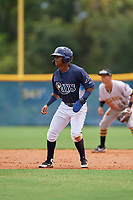 GCL Rays Abiezel Ramirez (2) leads off during a Gulf Coast League game against the GCL Pirates on August 7, 2019 at Charlotte Sports Park in Port Charlotte, Florida.  GCL Rays defeated the GCL Pirates 5-3 in the second game of a doubleheader.  (Mike Janes/Four Seam Images)