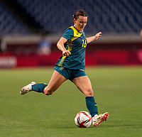 TOKYO, JAPAN - JULY 24: Hayley Raso #16 of Australia passes the ball during a game between Australia and Sweden at Saitama Stadium on July 24, 2021 in Tokyo, Japan.