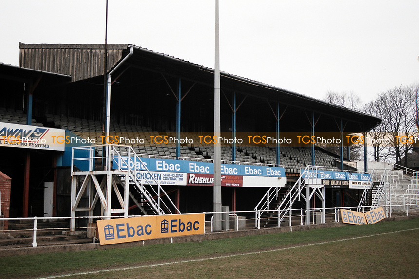 The main stand at Bishop Auckland FC Football Ground, Kingsway, Bishop Auckland, County Durham, County Durham, pictured on 7th April 1996