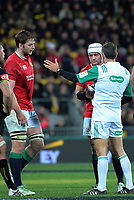 Referee Romain Poite explains to Rory Best that he is yellow-carding Iain Henderson (left) during the 2017 DHL Lions Series rugby match between the Hurricanes and British & Irish Lions at Westpac Stadium in Wellington, New Zealand on Tuesday, 27 June 2017. Photo: Dave Lintott / lintottphoto.co.nz