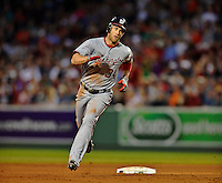 8 June 2012: Washington Nationals outfielder Bryce Harper rounds the bases after hitting his 6th homer of the season in the 4th inning against the Boston Red Sox at Fenway Park in Boston, MA. The Nationals defeated the Red Sox 7-4 in the opening game of their 3-game series. Mandatory Credit: Ed Wolfstein Photo