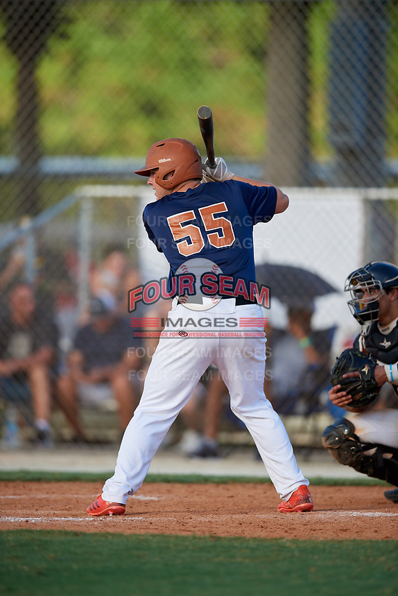 Stephen Hrustich during the WWBA World Championship at the Roger Dean Complex on October 18, 2018 in Jupiter, Florida.  Stephen Hrustich is a catcher from Lilburn, Georgia who attends Parkview High School.  (Mike Janes/Four Seam Images)