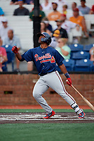 Danville Braves designated hitter Nicholas Vizcaino (36) follows through on a swing during a game against the Johnson City Cardinals on July 28, 2018 at TVA Credit Union Ballpark in Johnson City, Tennessee.  Danville defeated Johnson City 7-4.  (Mike Janes/Four Seam Images)