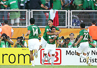 Zinha celebrates scoring for Mexico with teammates. Mexico defeated Iran 3-1 during a World Cup Group D match at Franken-Stadion, Nuremberg, Germany on Sunday June 11, 2006.