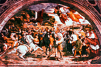 """Vatican:  Raphael's Rooms--""""A Meeting  of St. Leo the Great and Attila"""",  a fresco by Raphael in a reception room (Heliodorus) of the Palace of the Vatican."""