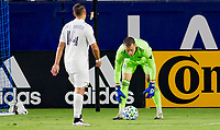 """CARSON, CA - OCTOBER 18: Javier """"Chicharito"""" Hernandez #14 of the Los Angeles Galaxy and Evan Bush #30 GK of the Vancouver Whitecaps during a game between Vancouver Whitecaps and Los Angeles Galaxy at Dignity Heath Sports Park on October 18, 2020 in Carson, California."""