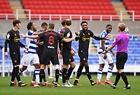 3rd October 2020; Madejski Stadium, Reading, Berkshire, England; English Football League Championship Football, Reading versus Watford; Watford players appeal against a booking for Nathaniel Chalobah of Watford