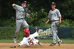 Sterling Riley (right) comes into back up Jacob Pavietich (left) during a double play during the Monday Pacific Southwest v Maryland game during the 2009 Cal Ripken World Series