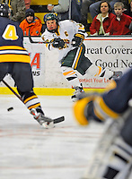 15 February 2008: University of Vermont Catamounts' forward and Team Captain Dean Strong, a Junior from Mississauga, Ontario, in action against the Merrimack College Warriors at Gutterson Fieldhouse in Burlington, Vermont. The Catamounts defeated the Warriors 4-1 in the first game of their 2-game weekend series...Mandatory Photo Credit: Ed Wolfstein Photo