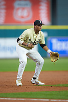 Jayson Gonzalez (99) of the Vanderbilt Commodores on defense against the Houston Cougars during game nine of the 2018 Shriners Hospitals for Children College Classic at Minute Maid Park on March 3, 2018 in Houston, Texas. The Commodores defeated the Cougars 9-4. (Brian Westerholt/Four Seam Images)